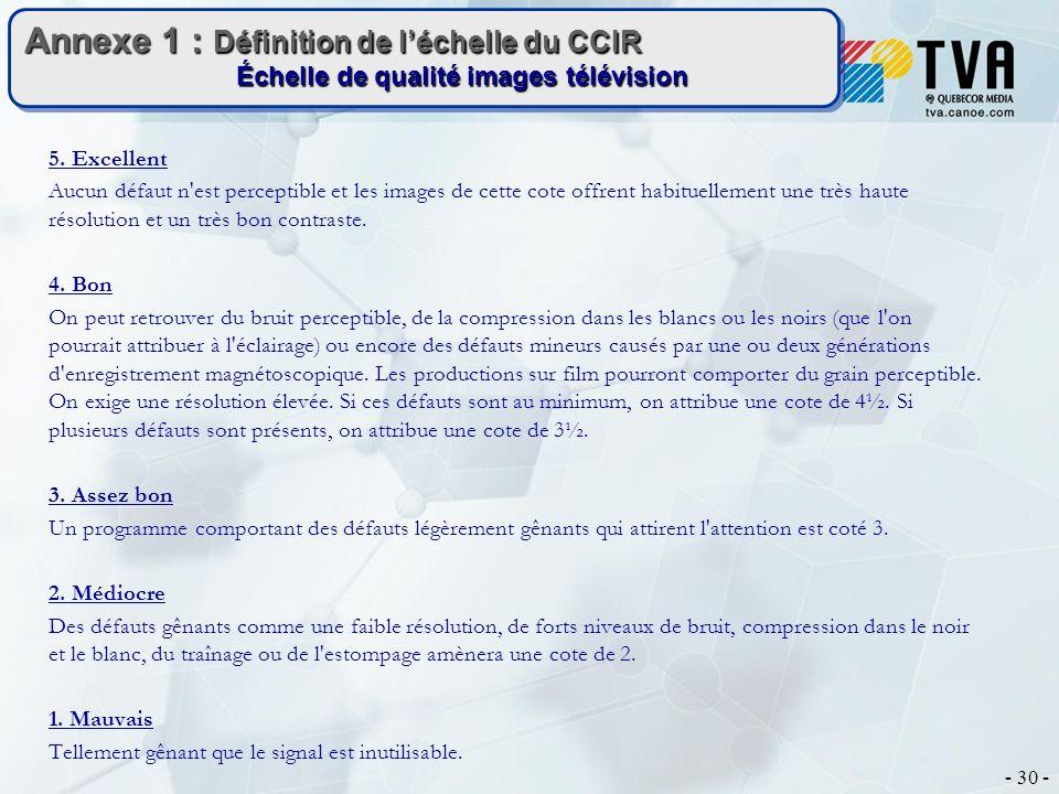 - 30 - Annexe 1 : Définition de léchelle du CCIR Échelle de qualité images télévision 5. Excellent Aucun défaut n'est perceptible et les images de cet