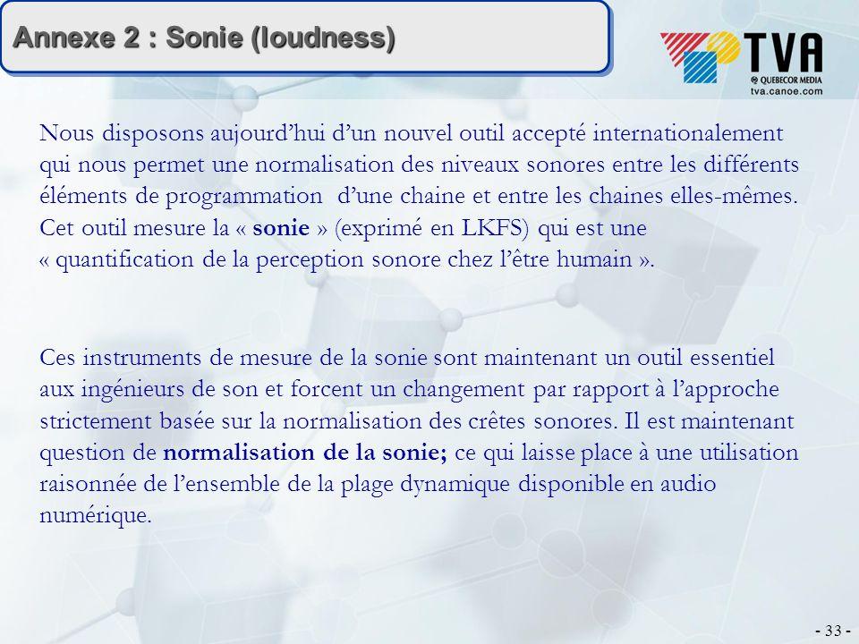 - 33 - Annexe 2 : Sonie (loudness) Nous disposons aujourdhui dun nouvel outil accepté internationalement qui nous permet une normalisation des niveaux sonores entre les différents éléments de programmation dune chaine et entre les chaines elles-mêmes.