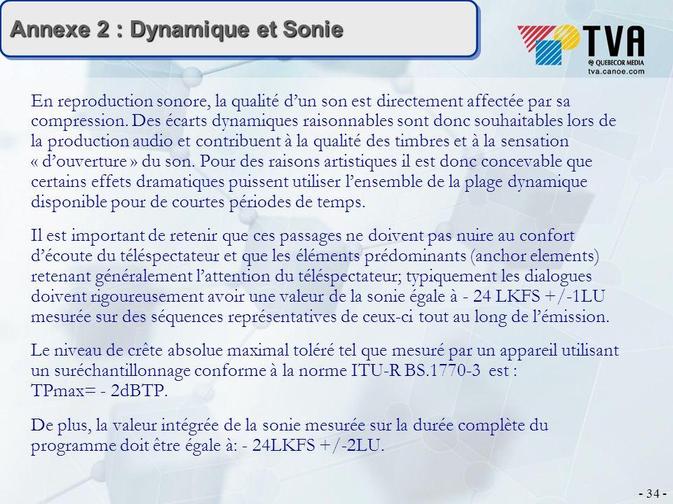 - 34 - Annexe 2 : Dynamique et Sonie En reproduction sonore, la qualité dun son est directement affectée par sa compression. Des écarts dynamiques rai