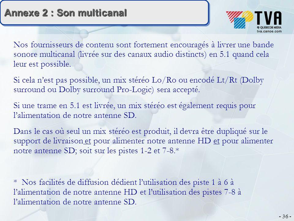 - 36 - Annexe 2 : Son multicanal Nos fournisseurs de contenu sont fortement encouragés à livrer une bande sonore multicanal (livrée sur des canaux audio distincts) en 5.1 quand cela leur est possible.