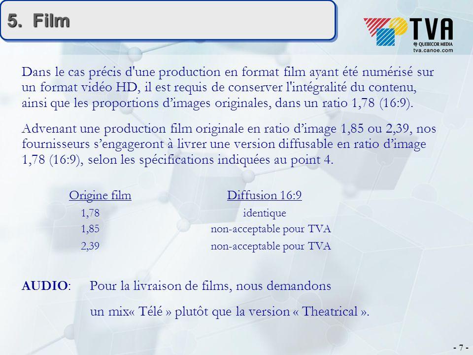 - 7 - 5. Film Dans le cas précis d'une production en format film ayant été numérisé sur un format vidéo HD, il est requis de conserver l'intégralité d