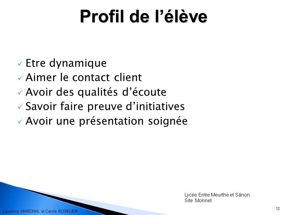 12 Etre dynamique Aimer le contact client Avoir des qualités découte Savoir faire preuve dinitiatives Avoir une présentation soignée Profil de lélève