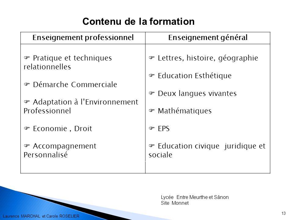 13 Contenu de la formation Enseignement professionnelEnseignement général Pratique et techniques relationnelles Démarche Commerciale Adaptation à lEnv