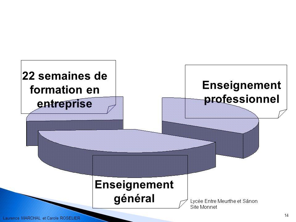 14 22 semaines de formation en entreprise Enseignement général Enseignement professionnel Lycée Entre Meurthe et Sânon Site Monnet Laurence MARCHAL et