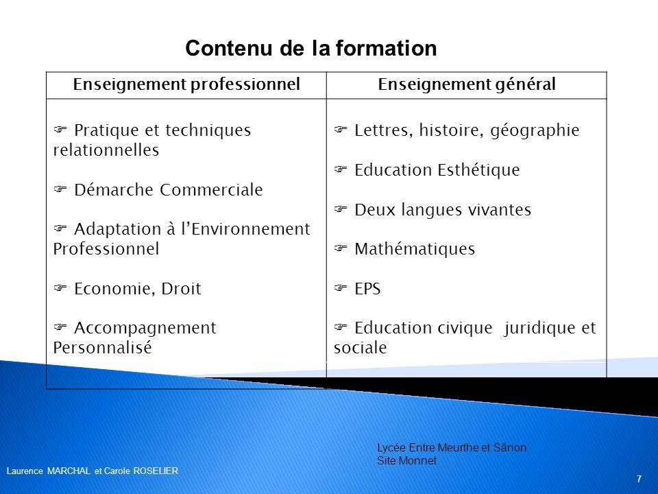 Contenu de la formation Enseignement professionnelEnseignement général Pratique et techniques relationnelles Démarche Commerciale Adaptation à lEnviro