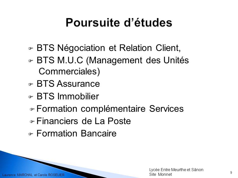 BTS Négociation et Relation Client, BTS M.U.C (Management des Unités Commerciales) BTS Assurance BTS Immobilier Formation complémentaire Services Fina
