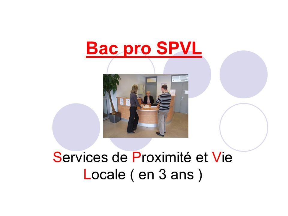 Le titulaire du BAC PRO SPVL est Un professionnel de proximité pouvant sadresser à différents publics (enfants, adolescents, adultes, habitants dun quartier, usagers dun service public, adultes en perte dautonomie)