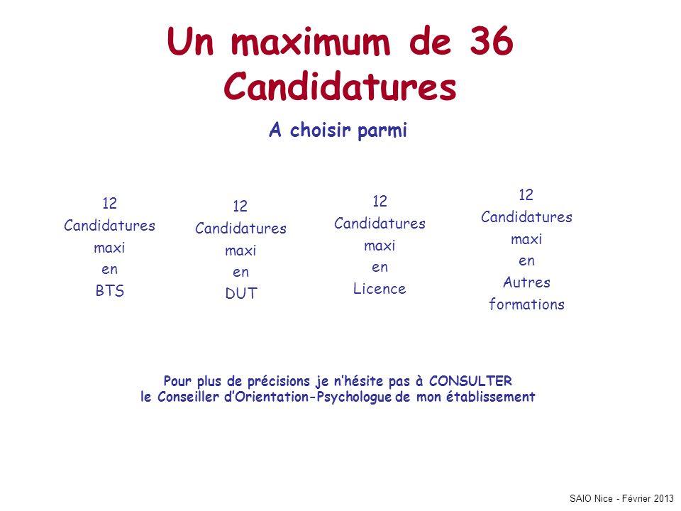 SAIO Nice - Février 2013 Un maximum de 36 Candidatures A choisir parmi Pour plus de précisions je nhésite pas à CONSULTER le Conseiller dOrientation-P