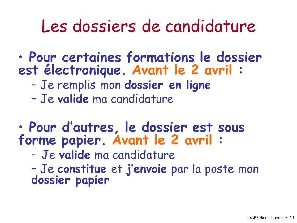 SAIO Nice - Février 2013 Les dossiers de candidature Pour certaines formations le dossier est électronique. Avant le 2 avril : – Je remplis mon dossie