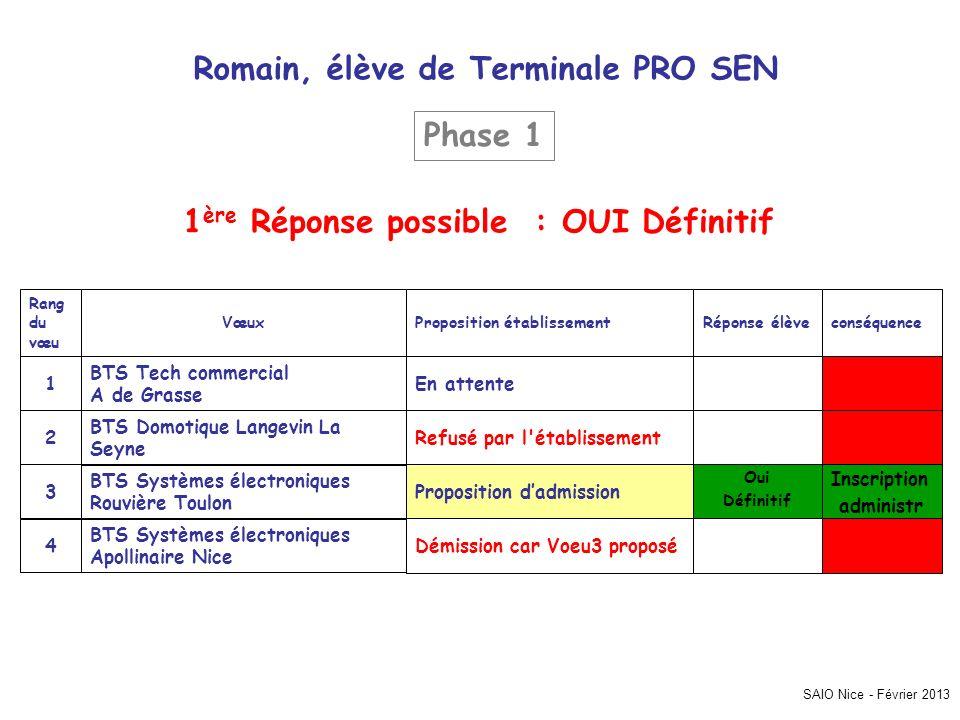 SAIO Nice - Février 2013 Romain, élève de Terminale PRO SEN Inscription administr Démission car Voeu3 proposé BTS Systèmes électroniques Apollinaire N