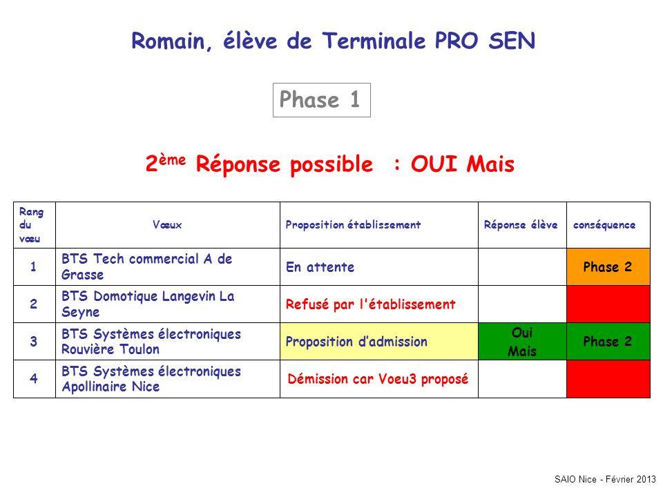 SAIO Nice - Février 2013 Romain, élève de Terminale PRO SEN Phase 2 Démission car Voeu3 proposé BTS Systèmes électroniques Apollinaire Nice 4 Oui Mais