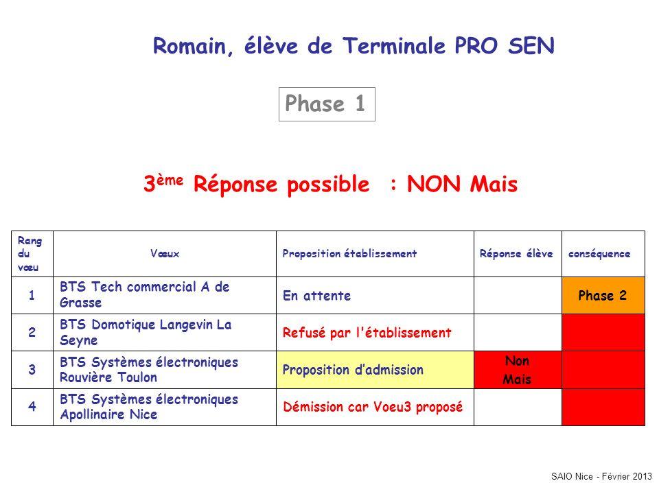 SAIO Nice - Février 2013 Romain, élève de Terminale PRO SEN Phase 2 Démission car Voeu3 proposé BTS Systèmes électroniques Apollinaire Nice 4 Non Mais