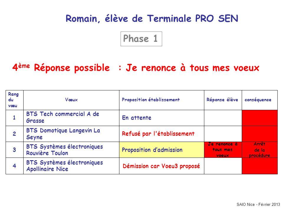 SAIO Nice - Février 2013 Romain, élève de Terminale PRO SEN Arrêt de la procédure Démission car Voeu3 proposé BTS Systèmes électroniques Apollinaire N