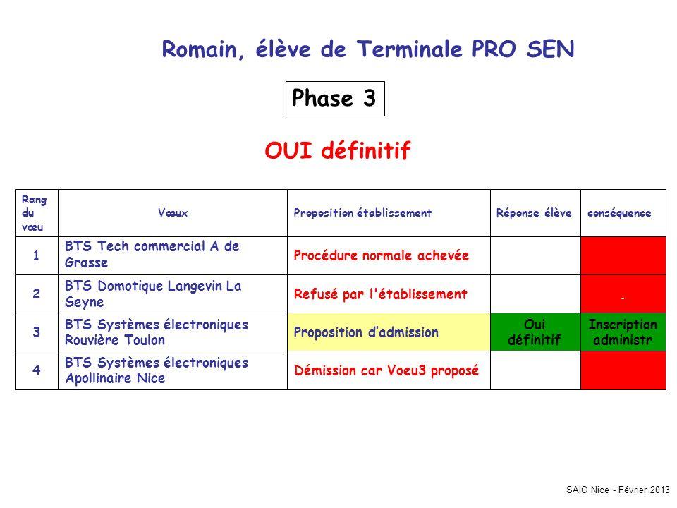 Proposition établissement SAIO Nice - Février 2013 Romain, élève de Terminale PRO SEN Inscription administr. Démission car Voeu3 proposé BTS Systèmes