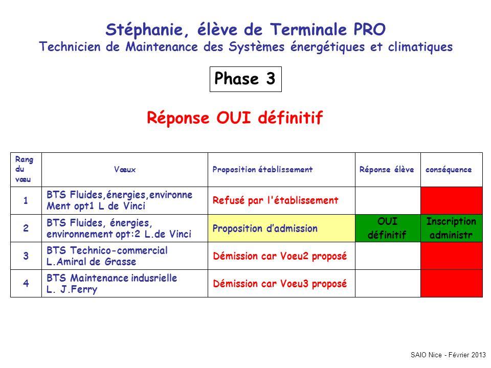 SAIO Nice - Février 2013 Stéphanie, élève de Terminale PRO Technicien de Maintenance des Systèmes énergétiques et climatiques Inscription administr Dé