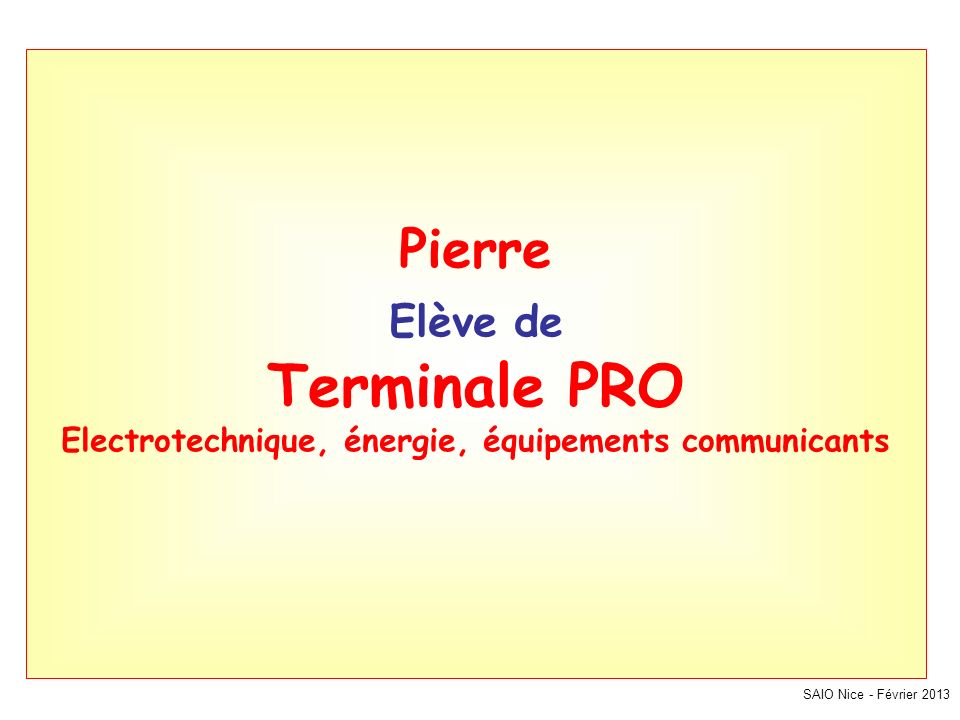 SAIO Nice - Février 2013 Pierre Elève de Terminale PRO Electrotechnique, énergie, équipements communicants