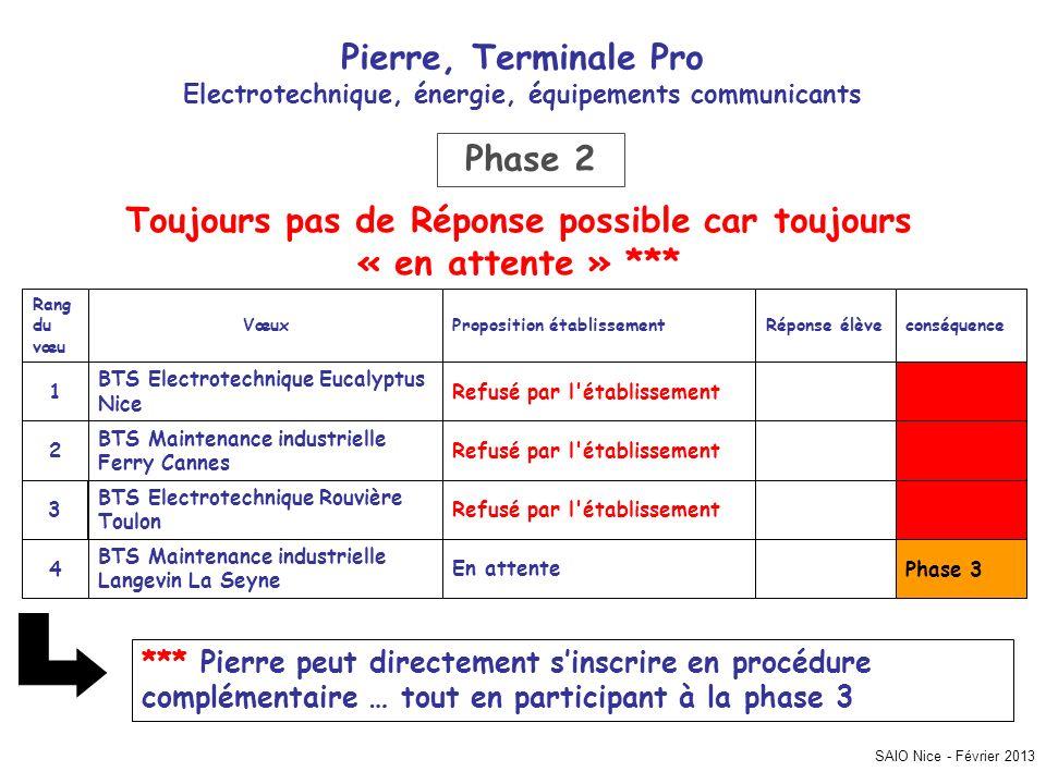 SAIO Nice - Février 2013 Pierre, Terminale Pro Electrotechnique, énergie, équipements communicants Phase 3En attente BTS Maintenance industrielle Lang