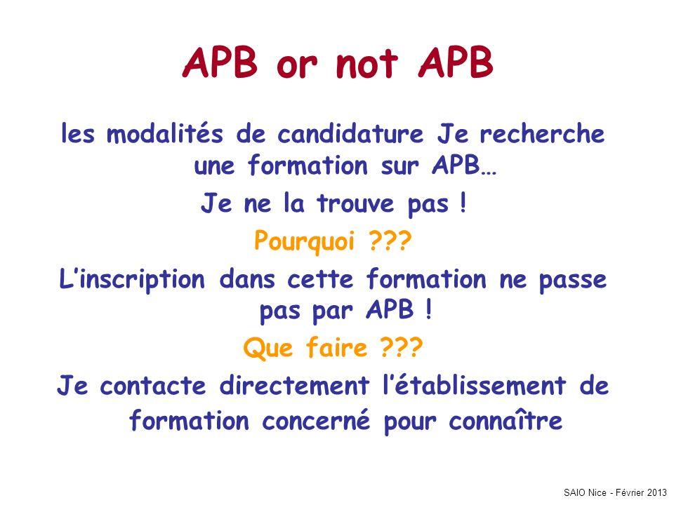 SAIO Nice - Février 2013 APB or not APB les modalités de candidature Je recherche une formation sur APB… Je ne la trouve pas ! Pourquoi ??? Linscripti