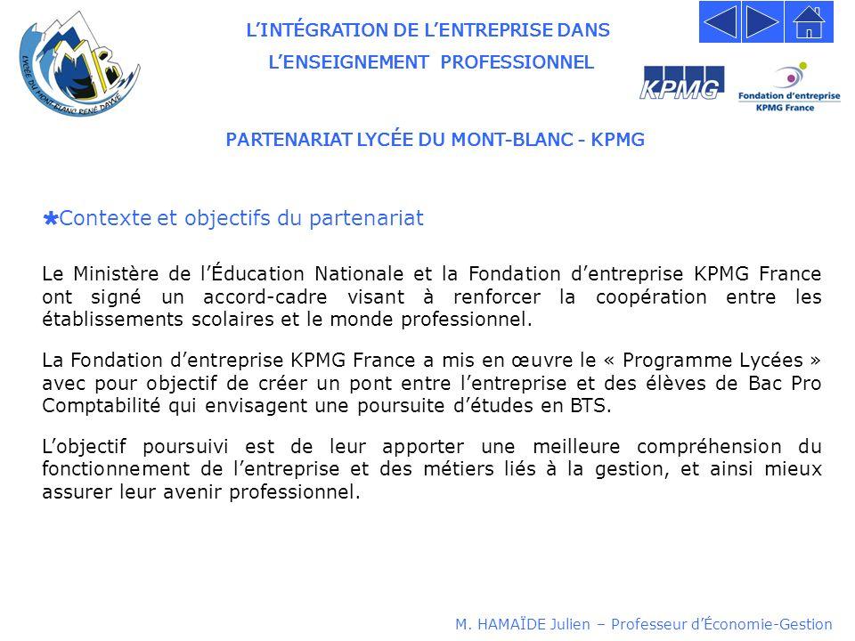 LINTÉGRATION DE LENTREPRISE DANS LENSEIGNEMENT PROFESSIONNEL PARTENARIAT LYCÉE DU MONT-BLANC - KPMG Contexte et objectifs du partenariat Le Ministère