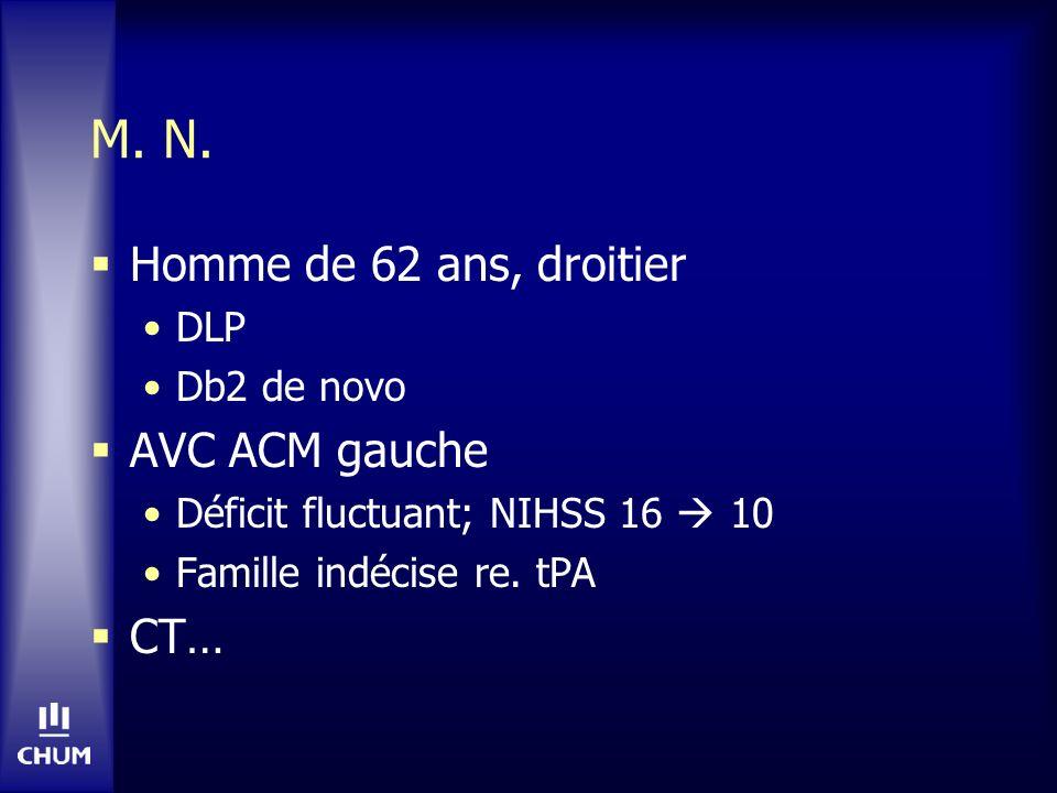 M. N. Homme de 62 ans, droitier DLP Db2 de novo AVC ACM gauche Déficit fluctuant; NIHSS 16 10 Famille indécise re. tPA CT…