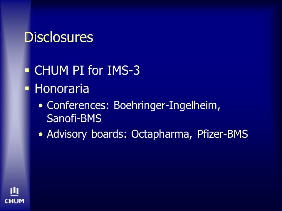 Intra-arterial thrombolysis PROACT II RCT de patients avec occlusion ACM traités en <6 heures NIHSS médian = 17 Pro-urokinase IA + héparine IV (n=121) vs héparine IV (n=59) Recanalisation (par angio): 66 vs 18% (p<0.001) mRS 0-2 a 90 jours: 40% vs 25% (p=0.04) HIC symptomatique: 10% vs 2% (p=0.06) Furlan A et al.