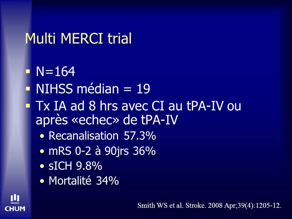 Multi MERCI trial N=164 NIHSS médian = 19 Tx IA ad 8 hrs avec CI au tPA-IV ou après «echec» de tPA-IV Recanalisation 57.3% mRS 0-2 à 90jrs 36% sICH 9.