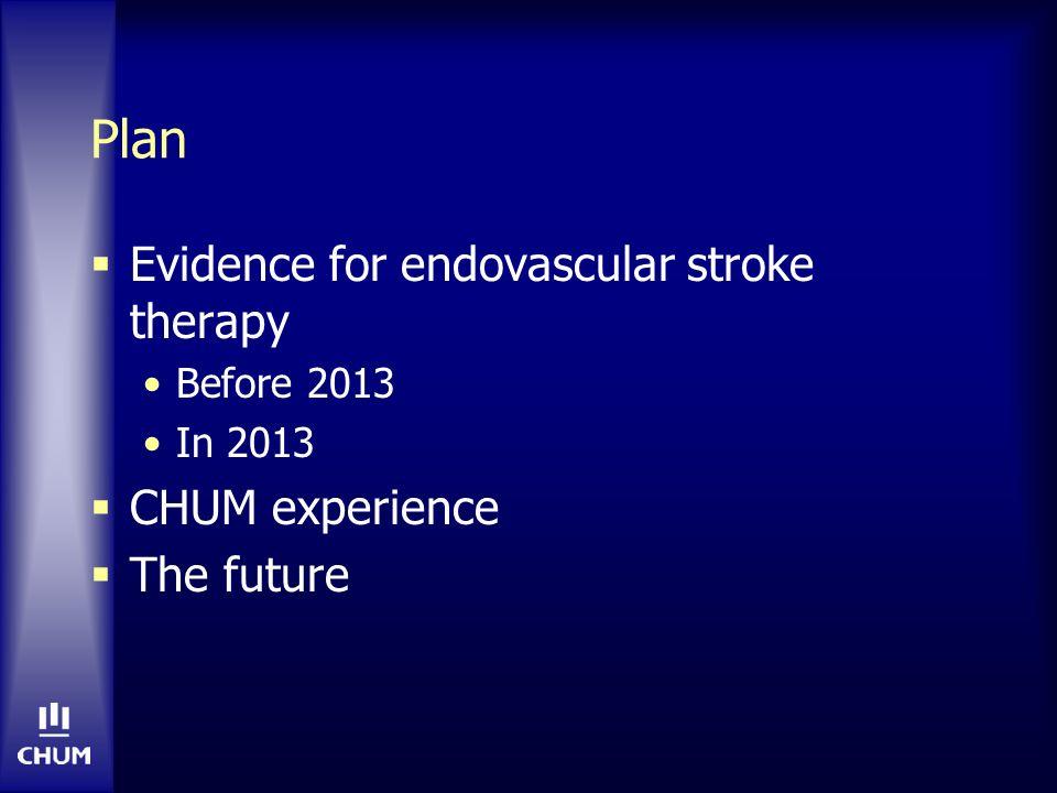 CHUM experience N=39 (nov 2009 – janv 2011) NIHSS moyen = 18.7 MERCI: 4 (+ Penumbra ou ballon) (10%) Penumbra: 33 (85%) Solitaire: 1 (2%) Recanalisation 66% mRS 0-2 à 90jrs 33% Mortalité 10% Courtesy Dr.
