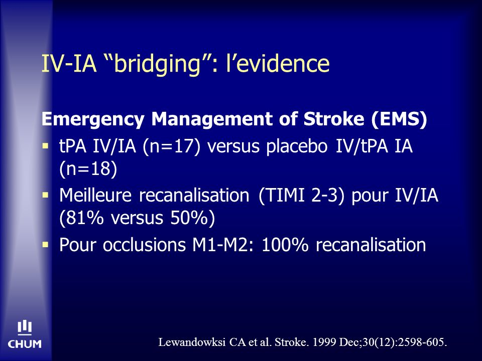 IV-IA bridging: levidence Emergency Management of Stroke (EMS) tPA IV/IA (n=17) versus placebo IV/tPA IA (n=18) Meilleure recanalisation (TIMI 2-3) po