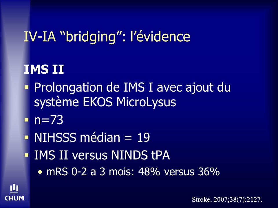 IV-IA bridging: lévidence IMS II Prolongation de IMS I avec ajout du système EKOS MicroLysus n=73 NIHSSS médian = 19 IMS II versus NINDS tPA mRS 0-2 a