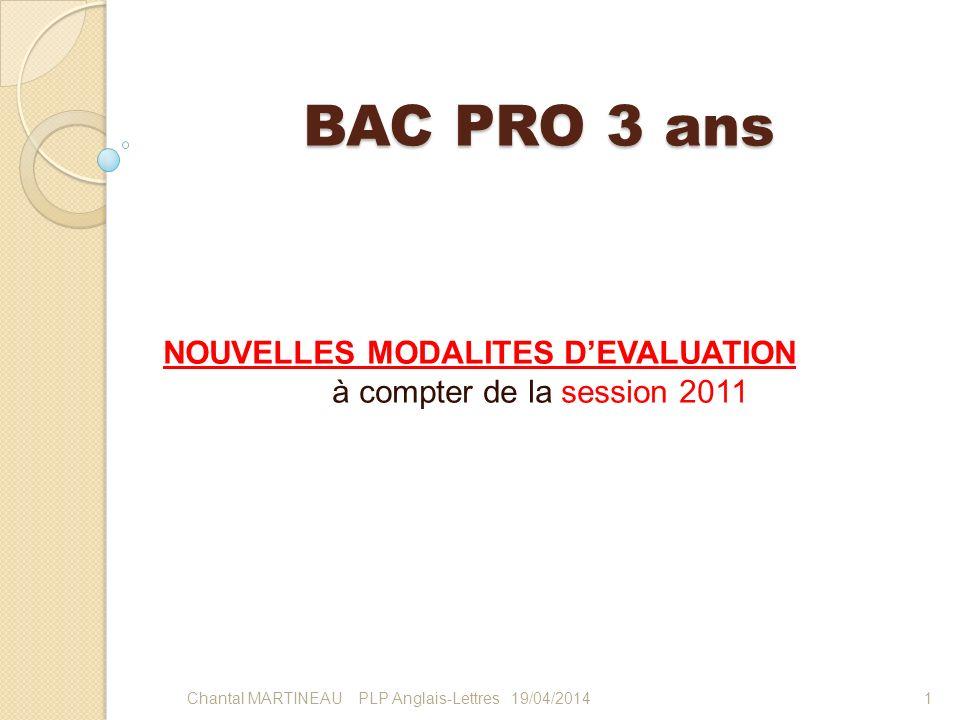 BAC PRO 3 ans NOUVELLES MODALITES DEVALUATION à compter de la session 2011 119/04/2014Chantal MARTINEAU PLP Anglais-Lettres