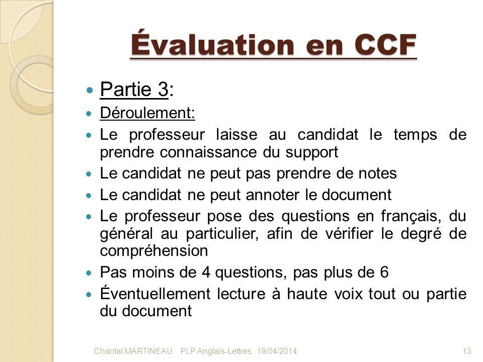 Évaluation en CCF Partie 3: Déroulement: Le professeur laisse au candidat le temps de prendre connaissance du support Le candidat ne peut pas prendre