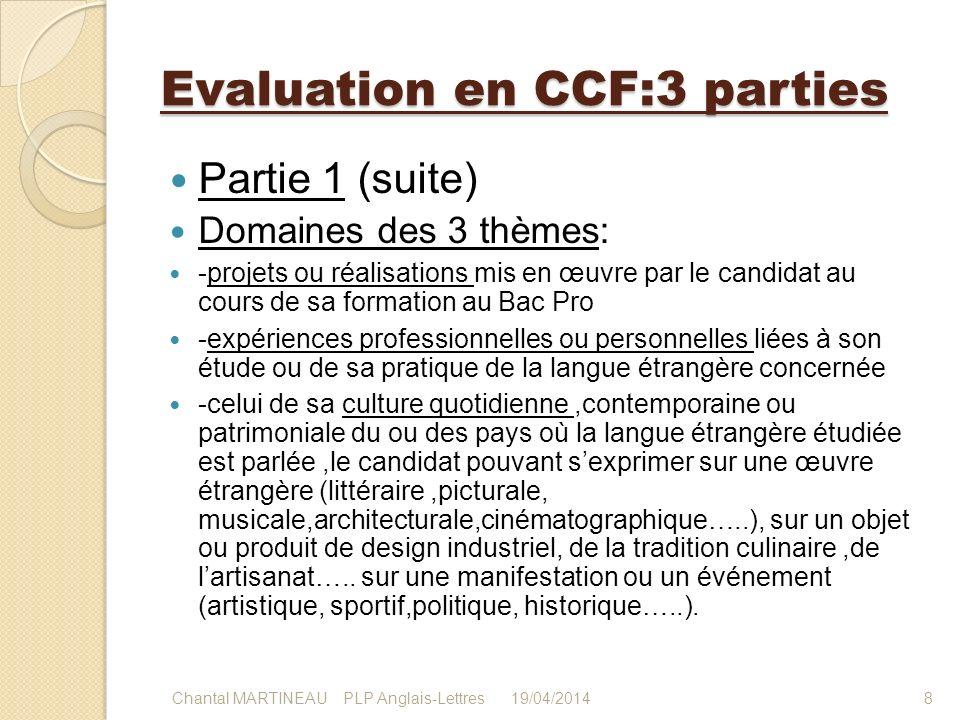 Evaluation en CCF:3 parties Partie 1 (suite) Domaines des 3 thèmes: -projets ou réalisations mis en œuvre par le candidat au cours de sa formation au