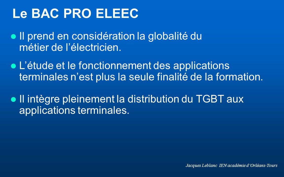 Le BAC PRO ELEEC Il prend en considération la globalité du métier de lélectricien. Létude et le fonctionnement des applications terminales nest plus l