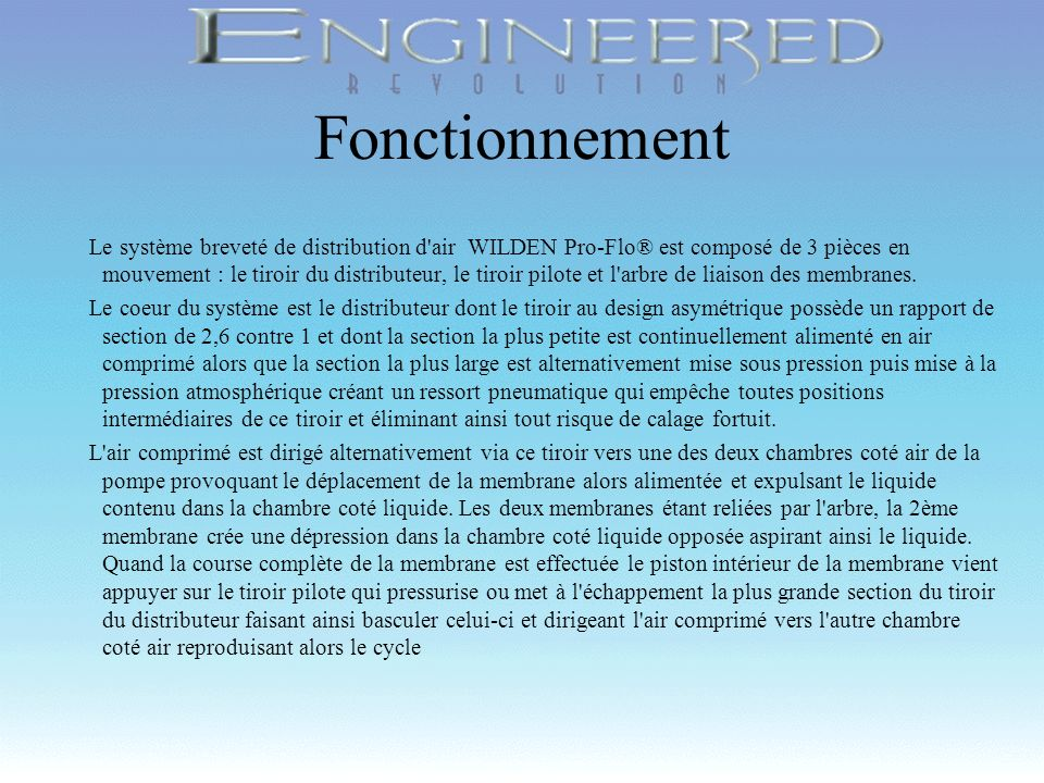 Copyright 1998, Wilden Pump & Engineering Company, Grand Terrace, CA Rapport de section 2.6 X Tiroir du Distributeur