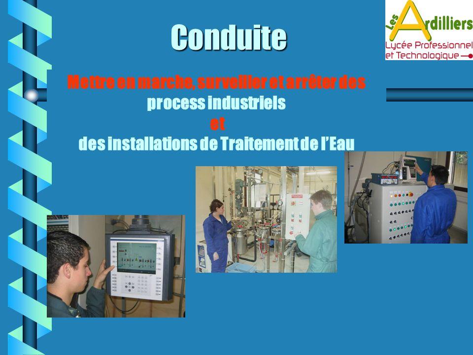Conduite Mettre en marche, surveiller et arrêter des process industriels et des installations de Traitement de lEau