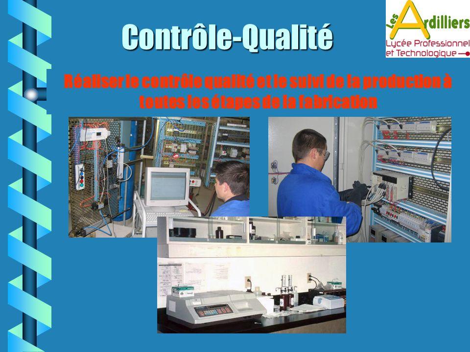 Contrôle-Qualité Réaliser le contrôle qualité et le suivi de la production à toutes les étapes de la fabrication