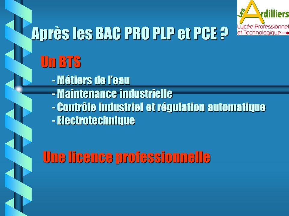 Un BTS - Métiers de leau - Maintenance industrielle - Contrôle industriel et régulation automatique - Electrotechnique Une licence professionnelle Apr