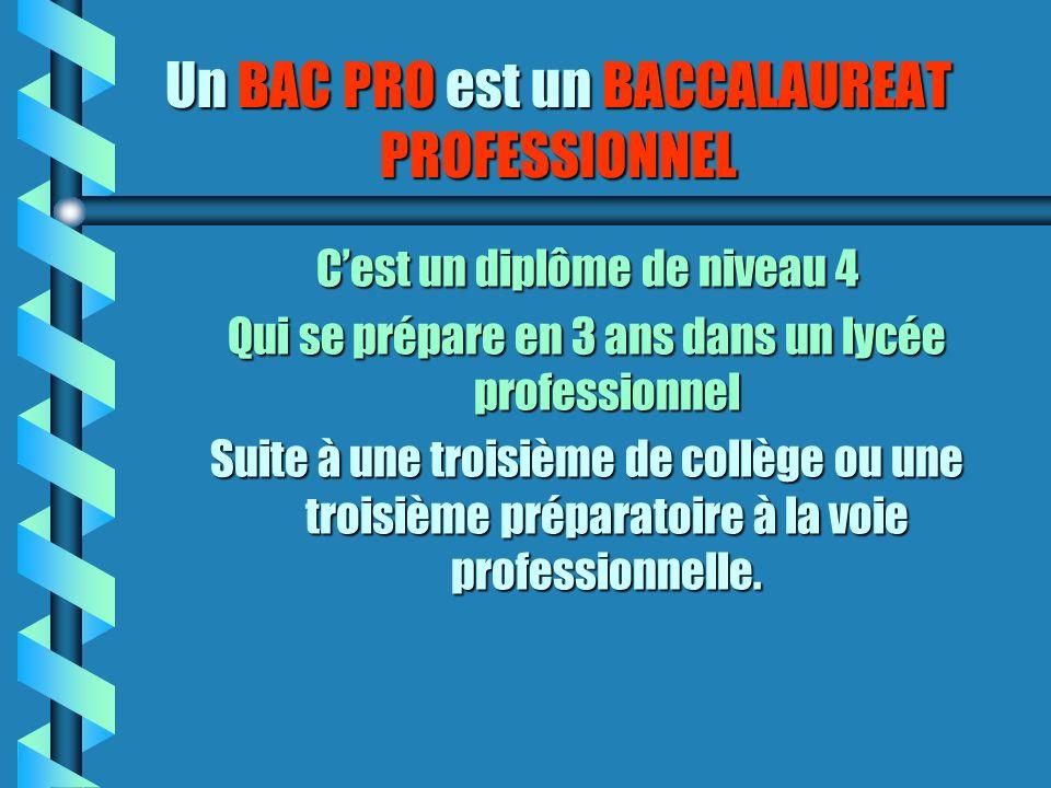 Un BAC PRO est un BACCALAUREAT PROFESSIONNEL Cest un diplôme de niveau 4 Qui se prépare en 3 ans dans un lycée professionnel Suite à une troisième de