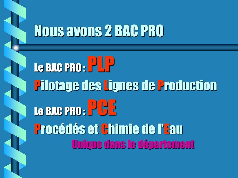 Nous avons 2 BAC PRO Le BAC PRO : PLP Pilotage des Lignes de Production Le BAC PRO : PCE Procédés et Chimie de l'Eau Unique dans le département