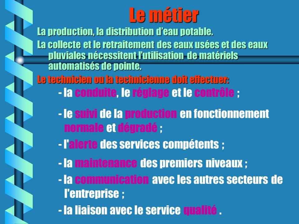 Le métier - la communication avec les autres secteurs de l'entreprise ; - la conduite, le réglage et le contrôle ; - la maintenance des premiers nivea