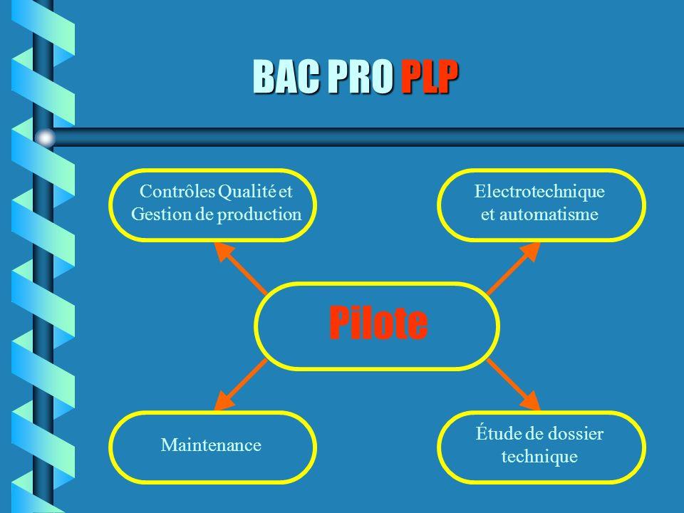 BAC PRO PLP Pilote Contrôles Qualité et Gestion de production Maintenance Electrotechnique et automatisme Étude de dossier technique