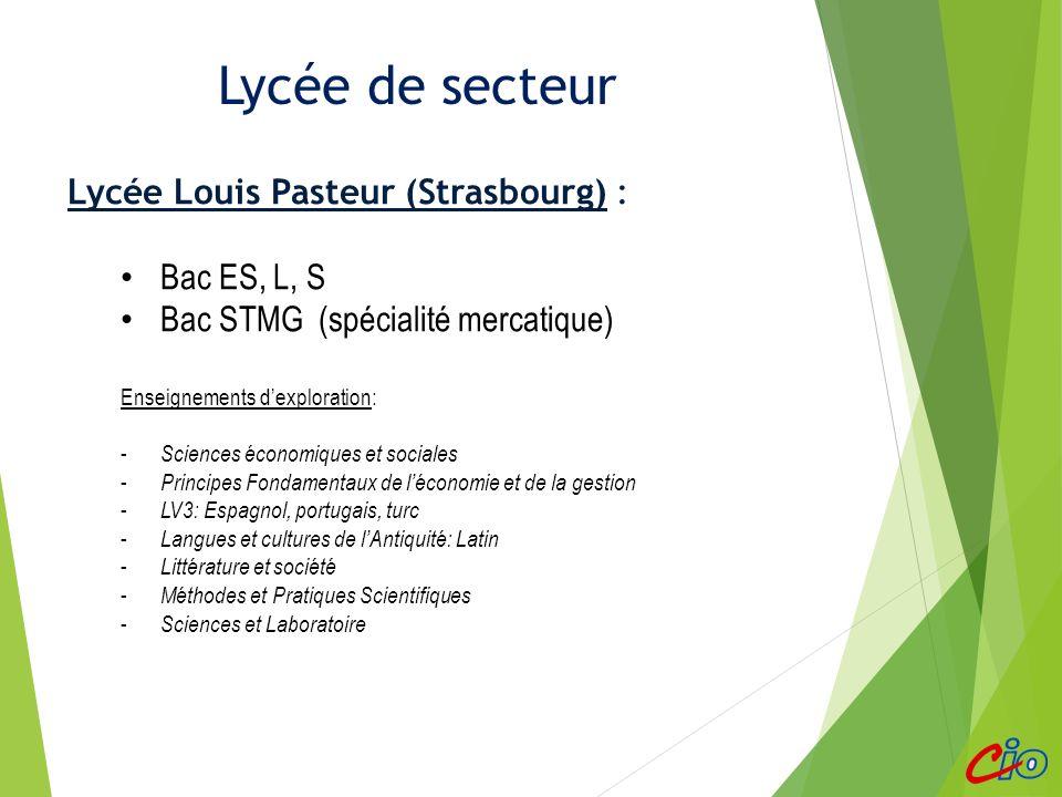 Lycée de secteur proche Lycée Louis Pasteur (Strasbourg) : Bac ES, L, S Bac STMG (spécialité mercatique) Enseignements dexploration: - Sciences économ