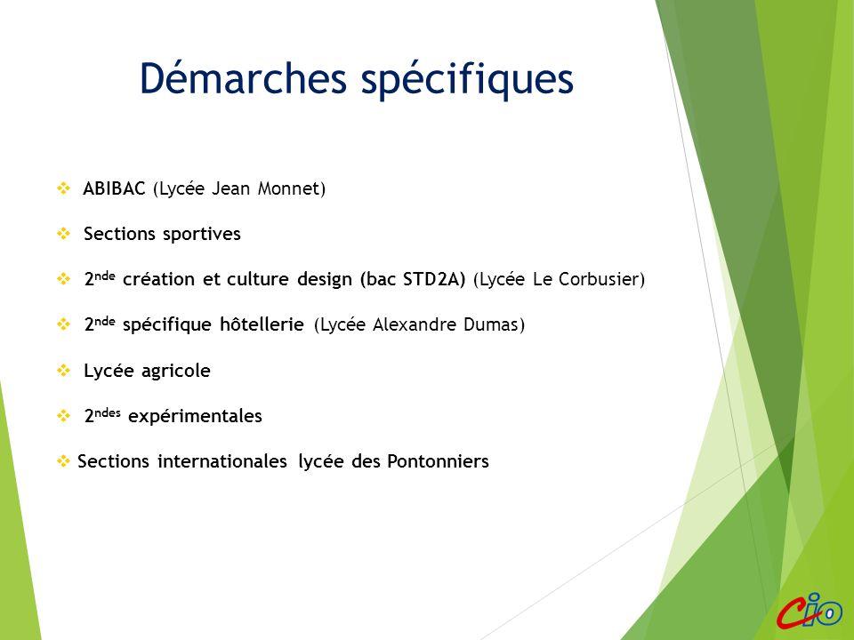 Démarches spécifiques ABIBAC (Lycée Jean Monnet) Sections sportives 2 nde création et culture design (bac STD2A) (Lycée Le Corbusier) 2 nde spécifique