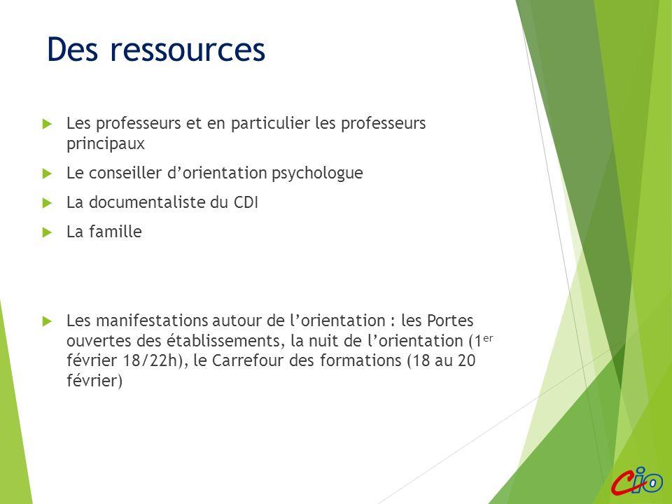 Des ressources Les professeurs et en particulier les professeurs principaux Le conseiller dorientation psychologue La documentaliste du CDI La famille