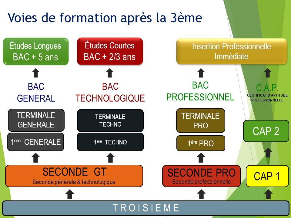 SECONDE PRO Seconde professionnelle T R O I S I E M E SECONDE GT Seconde générale & technologique 1 ère PRO TERMINALE PRO CAP 1 CAP 2 BAC GENERAL BAC TECHNOLOGIQUE BAC PROFESSIONNEL C.A.P.