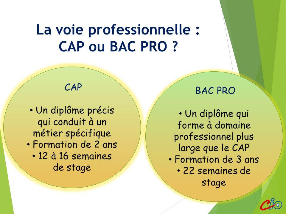 La voie professionnelle : CAP ou BAC PRO ? CAP Un diplôme précis qui conduit à un métier spécifique Formation de 2 ans 12 à 16 semaines de stage BAC P