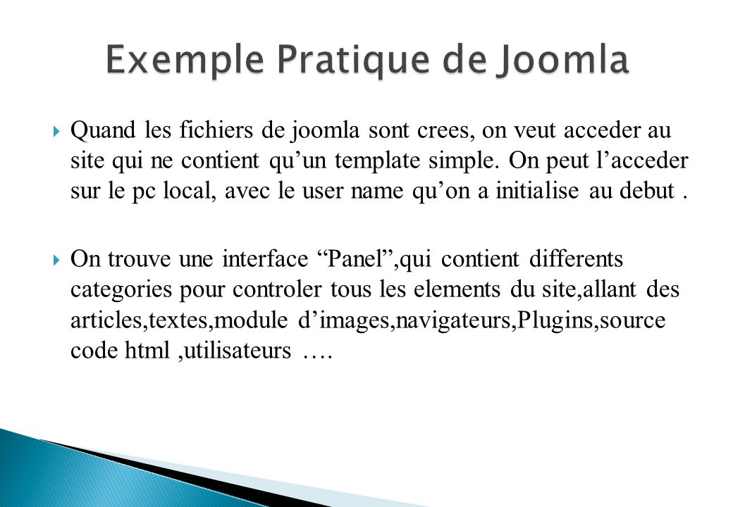 Quand les fichiers de joomla sont crees, on veut acceder au site qui ne contient quun template simple.