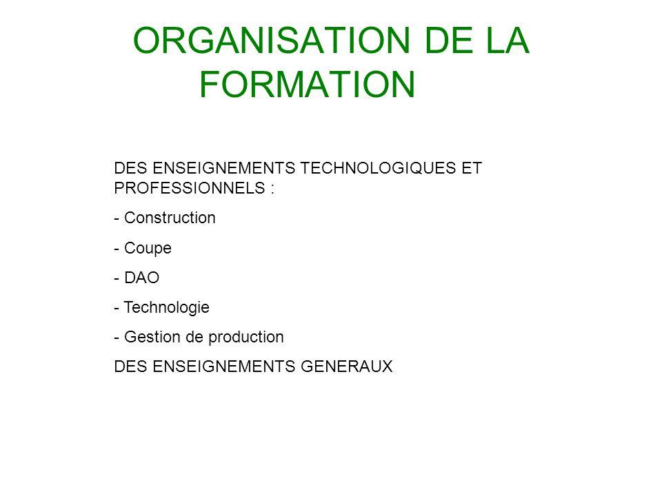 ORGANISATION DE LA FORMATION DES ENSEIGNEMENTS TECHNOLOGIQUES ET PROFESSIONNELS : - Construction - Coupe - DAO - Technologie - Gestion de production D