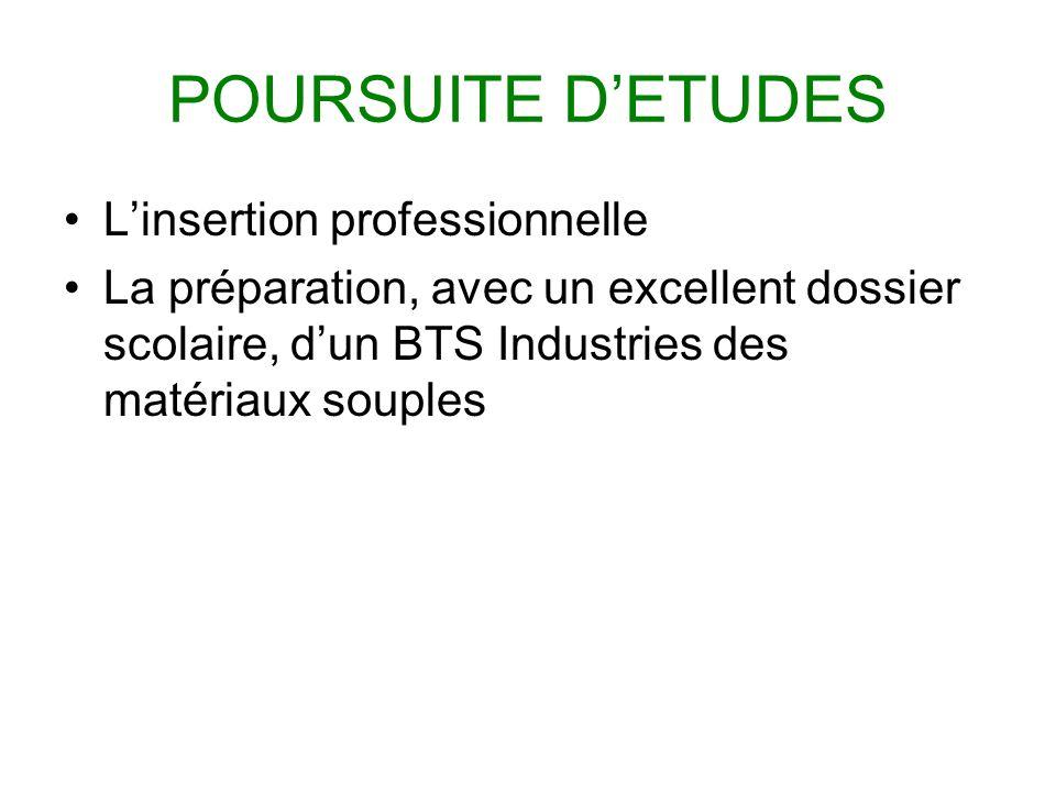 POURSUITE DETUDES Linsertion professionnelle La préparation, avec un excellent dossier scolaire, dun BTS Industries des matériaux souples