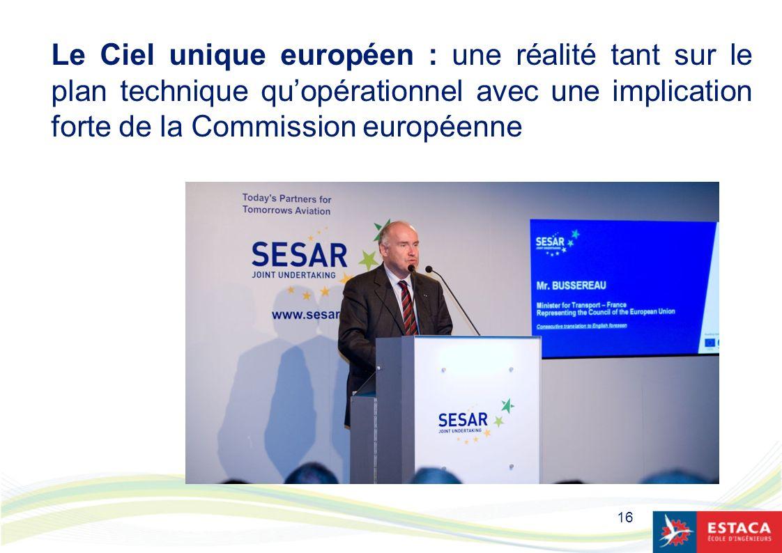 16 Le Ciel unique européen : une réalité tant sur le plan technique quopérationnel avec une implication forte de la Commission européenne